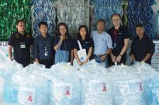 Donated polyethylene terephthalate (PET) plastic bottles to produce anti-bacterial monk's robes